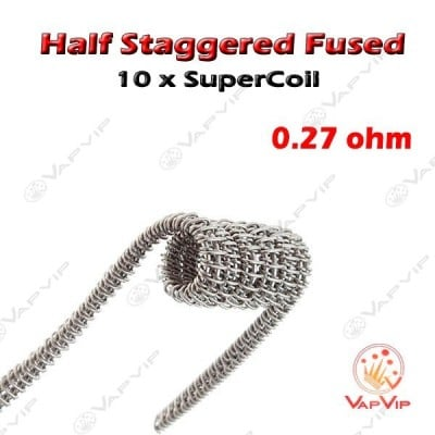 10 Half Staggered Fused Super-Coils Resistencias Kanthal 0.27ohm