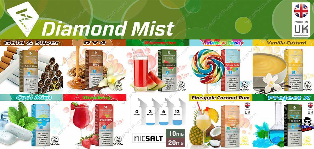 Eliquid 10ml by Diamond Mist e-liquids in Spain