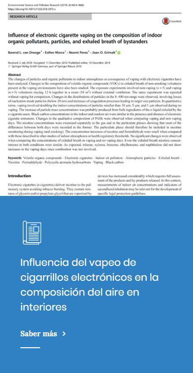 Influencia del vapeo de cigarrillos electrónicos en la composición del aire en interiores